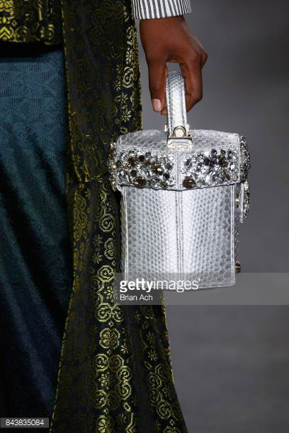 model-walks-the-runway-wearing-dian-pelangi-ss18-ss18-and-handbag-by-picture-id843835084