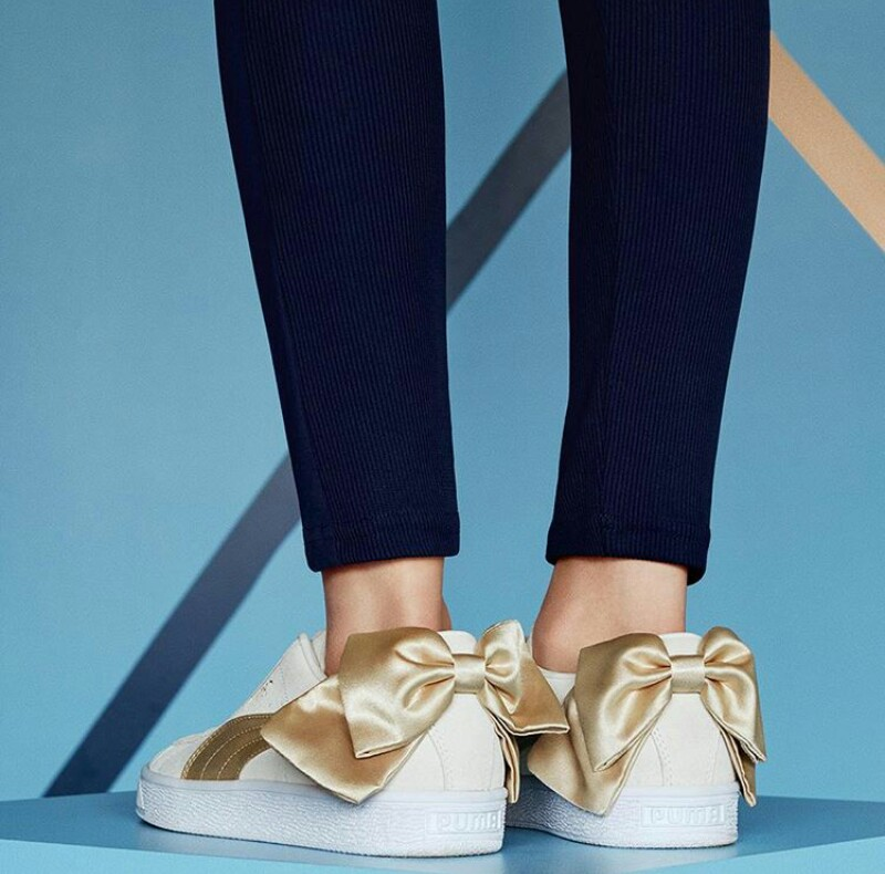 Cara Delevingne models the new Puma Suede Bow Varsity Sneakers ... 31b470413